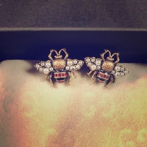 Auth Used Gucci Bee Stud Crystals Pearls Earrings